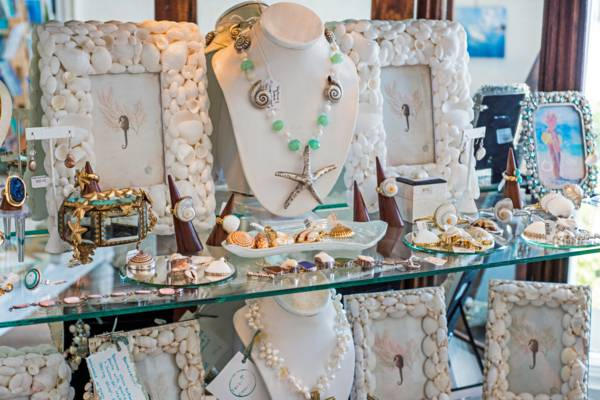 jewellery and seashell picture frames at a shop in Grace Bay on Providenciales