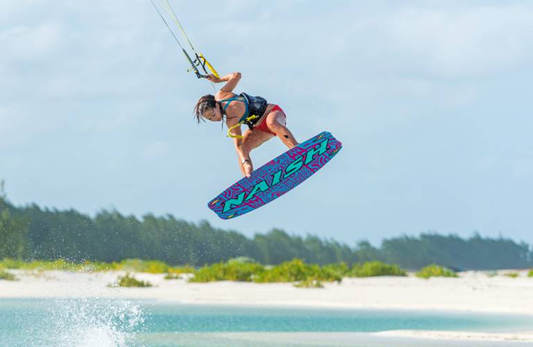 pro kiteboarder Hope LeVin at Cedar Point on Middle Caicos
