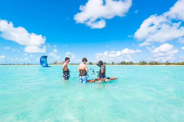 kiteboarding lessons at the beautiful Long Bay Beach on Providenciales