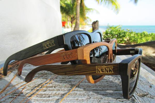 Konk Apparel bamboo sunglasses in the Turks and Caicos