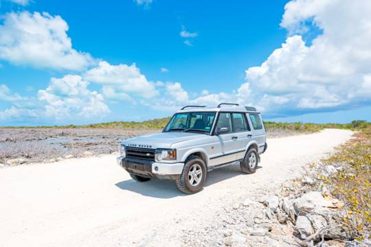 exploring the wetlands in the Frenchman's Creek Nature Reserve in a Land Rover Discovery