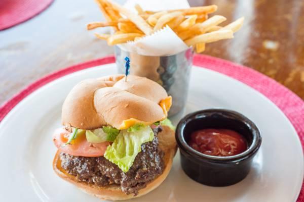 gourmet hamburger at Las Brisas Restaurant at Chalk Sound on Providenciales