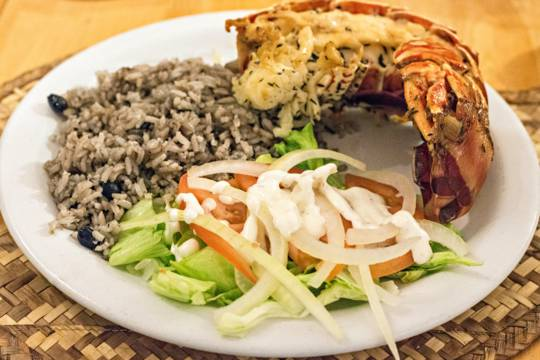 Turks and Caicos cuisine lobster dinner at Daniel's Cafe on Middle Caicos