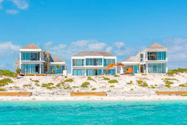beachfront luxury vacation villa under construction at Long Bay Beach in the Turks and Caicos