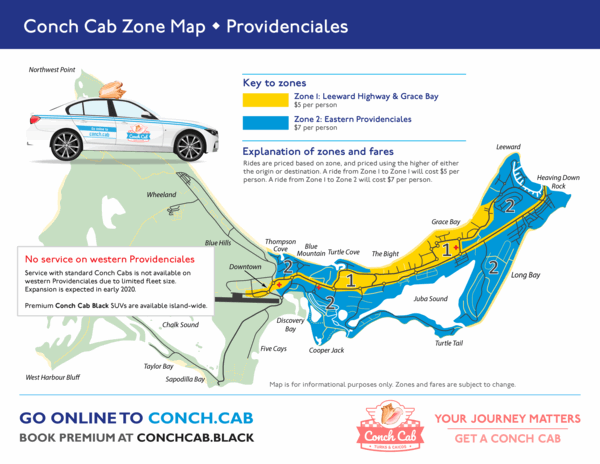 Conch Cab zone map