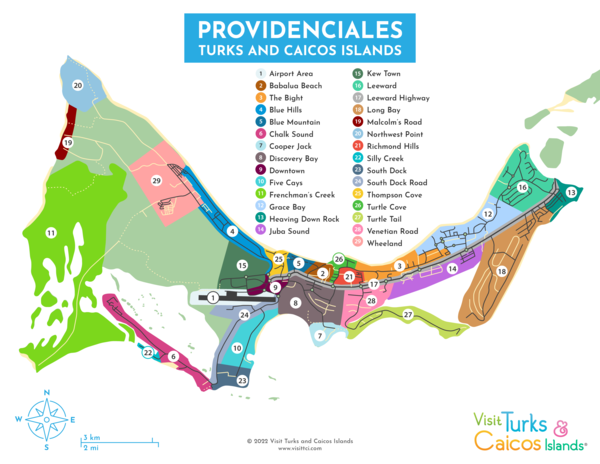 map of districts and settlements on Providenciales