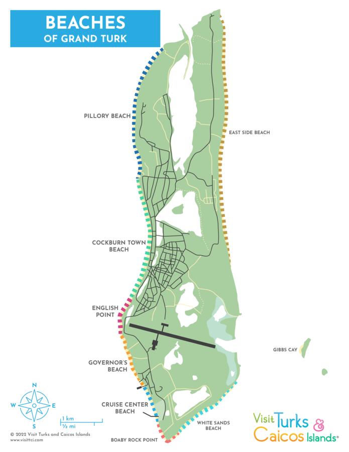 map of beaches on Grand Turk