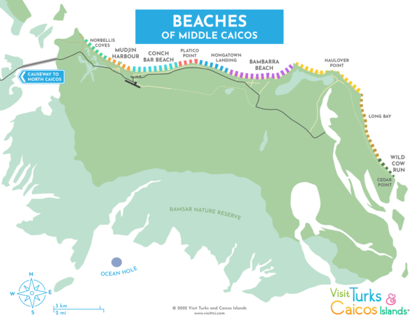 map of beaches on Middle Caicos