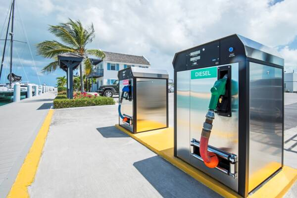 fuel pumps at a marina in the Turks and Caicos