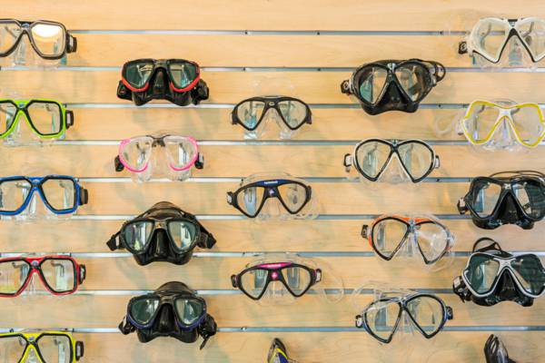snorkel and dive masks for sale at the Dive Provo shop in Grace Bay