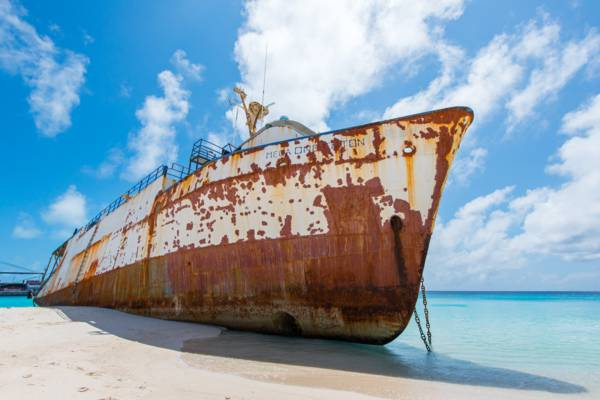 the Mega One Triton shipwreck on the beach at Grand Turk