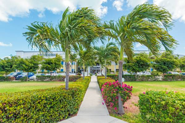 landscaping and walking path at the National Hospital on Providenciales