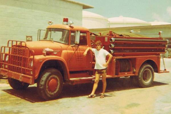 vintage photo of a U.S. Navy firetruck at the Grand Turk NAVFAC 104 base