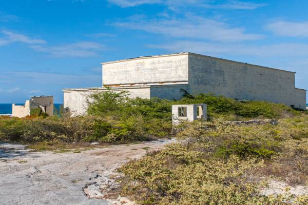 industrial building at the abandoned U.S. Navy NAVFAC 104 base in the Turks and Caicos