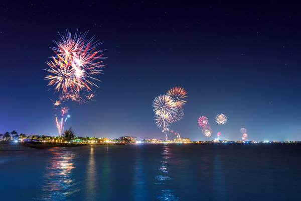 the 2017 New Year's Eve fireworks at Grace Bay Beach in the Turks and Caicos