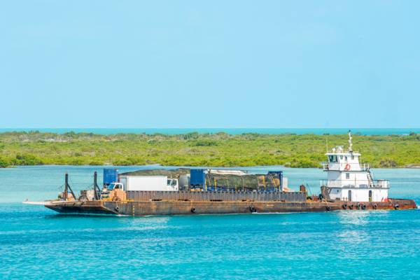 the cargo transport barge that travels between Providenciales and North Caicos