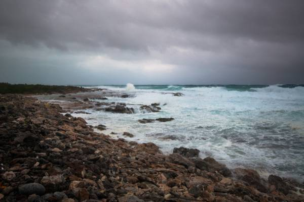 stormy weather and breaking waves on the limestone coast of Northwest Point on Providenciales