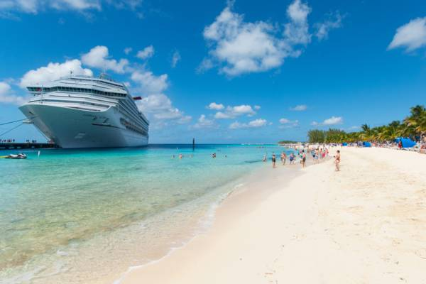 cruise ship docked off the beach at the Grand Turk Cruise Center