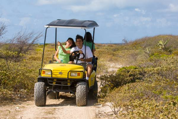 touring the trails and tracks of Salt Cay on an off-road golf cart
