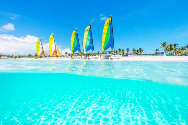 Hobie Cat sailboats on Grace Bay Beach in the Turks and Caicos