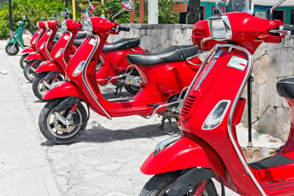 Vespa Scooters for rent in the Turks and Caicos