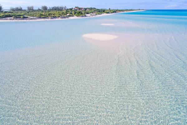 sand bars and the beach at the Parrot Cay Resort in the Turks and Caicos