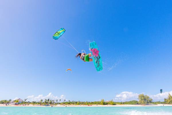 high kiteboarding jump at Long Bay Beach on Providenciales