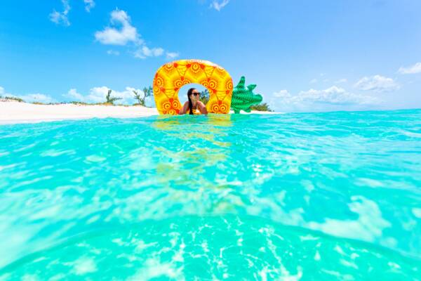 pineapple beach float in the Turks and Caicos
