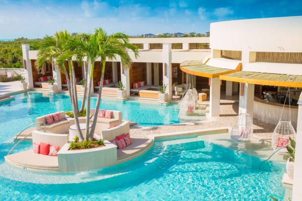 the swimming pool at the Shore Club resort on Long Bay Beach, Providenciales