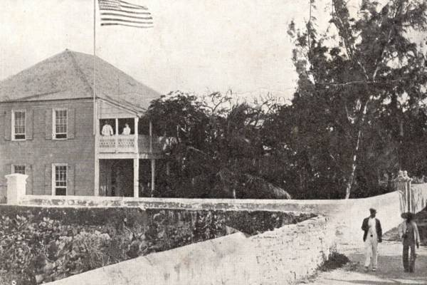 vintage photo of the American Consulate building in Cockburn Town on Grand Turk
