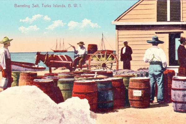 vintage photo of barrels of salt at the waterfront of Cockburn Town on Grand Turk