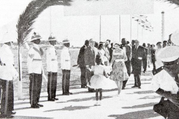 Queen Elizabeth II at South Caicos in the Turks and Caicos in 1966