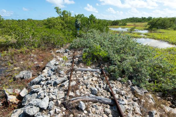 the remains of the Victorian-era small-scale railway and causeway on East Caicos