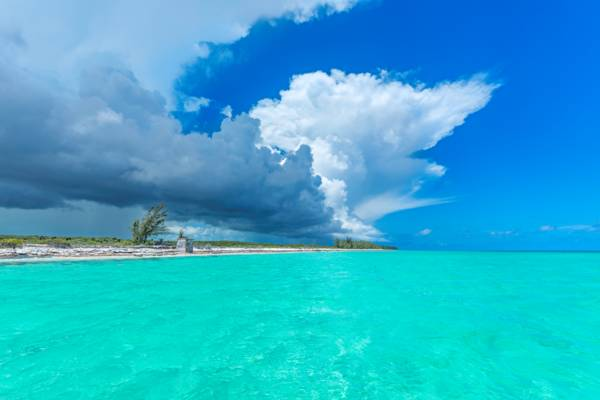 storm cloud over Whitby Beach on North Caicos