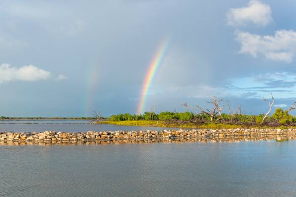 rainbow over the South Caicos salinas