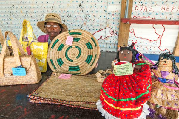 handmade woven crafts at Ready Money Garden on North Caicos