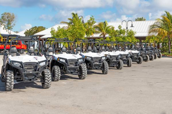side by side rental buggies at the Grand Turk Cruise Center