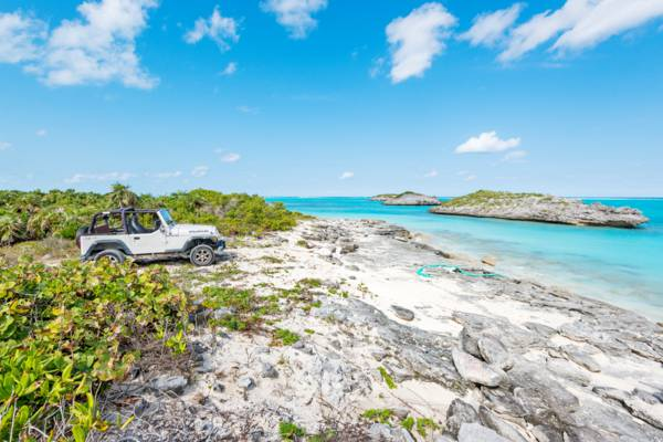 rental jeep at North Caicos