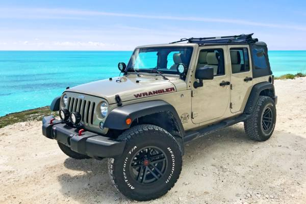 Jeep Wrangler at Turtle Tail in the Turks and Caicos