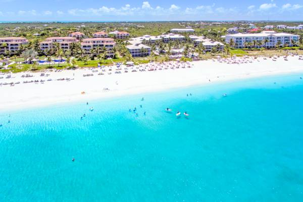 aerial view of the luxury resorts and Grace Bay Beach