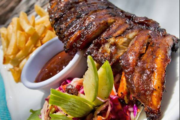 BBQ ribs and french fries at Kalooki's Restaurant at Blue Hills on Providenciales