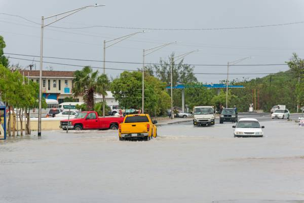 floodwaters in the Downtown region of Providenciales in the Turks and Caicos