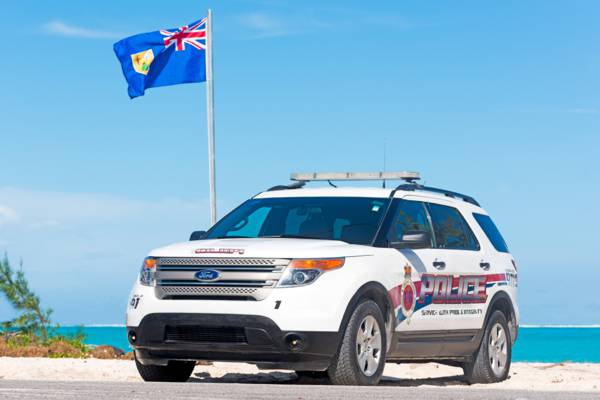 Royal Turks and Caicos Islands Police Ford Explorer parked on the coast at Blue Hills