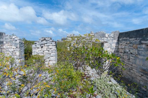 stone house ruins in the interior of East Caicos