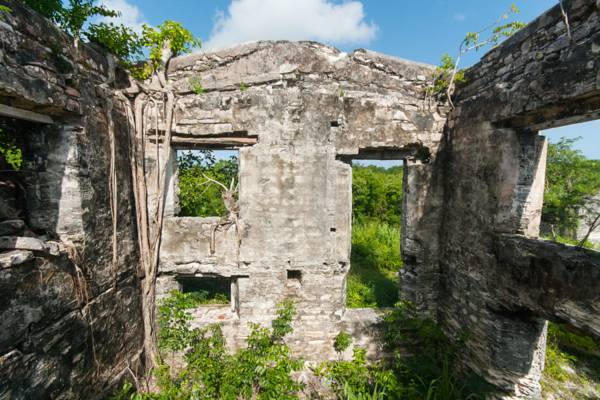 the interior of the ruins of the Great House at Wade's Green Plantation on North Caicos