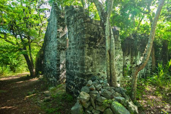 the ruins of the overseers house at Wade's Green Plantation in the Turks and Caicos