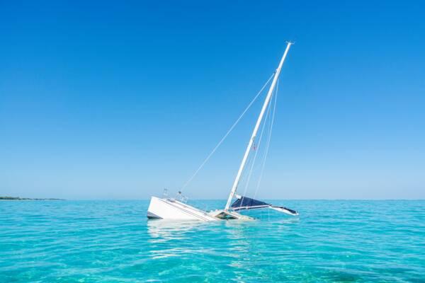 Manta catamaran sailboat wreck at North Caicos in the Turks and Caicos