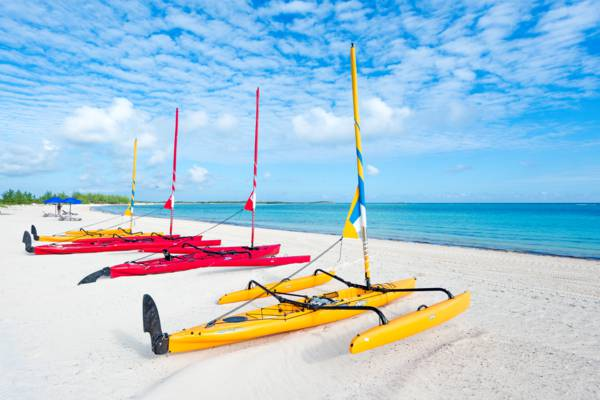 Hobie sailing kayaks on the beach at the East Bay Resort on South Caicos