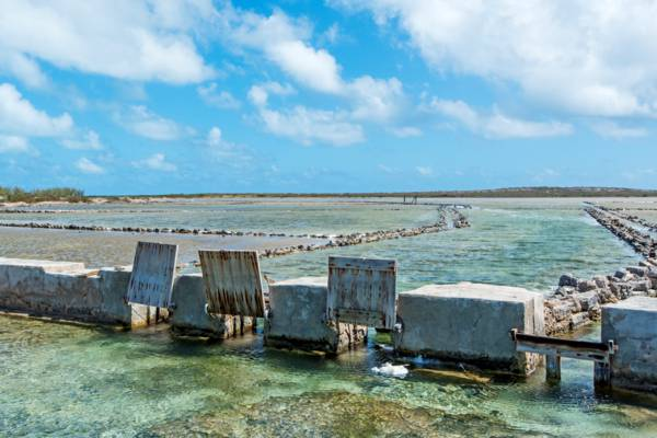 old sea salt salina gates at the Town Salinas on Salt Cay