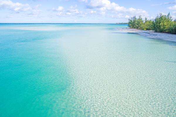 the clear ocean water at Sandy Point Beach in the Turks and Caicos